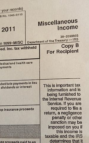 A 1099 form from the IRS (photo credit: Jessica Steinberg)