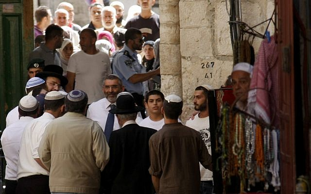 MK Michael Ben Ari joined right wing activists visiting the Temple Mount, in May (photo credit: Oren Nahshon/Flash90)