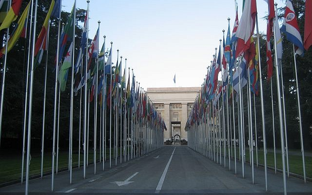 The United Nations building in Geneva (photo credit: CC BY cometstarmoon/flickr)