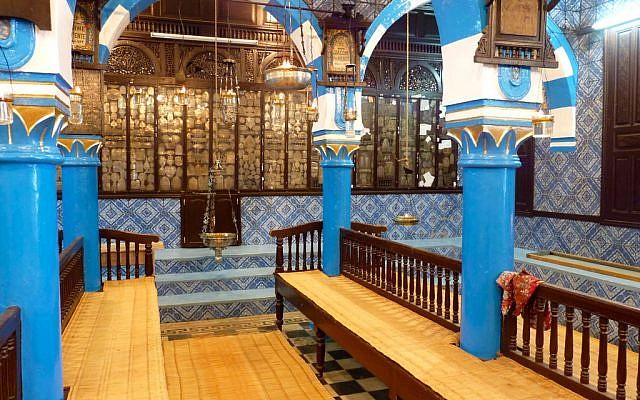 Interior of a synagogue in Djerba, Tunisia. (photo credit: CC BY Bellyglad, Flickr)