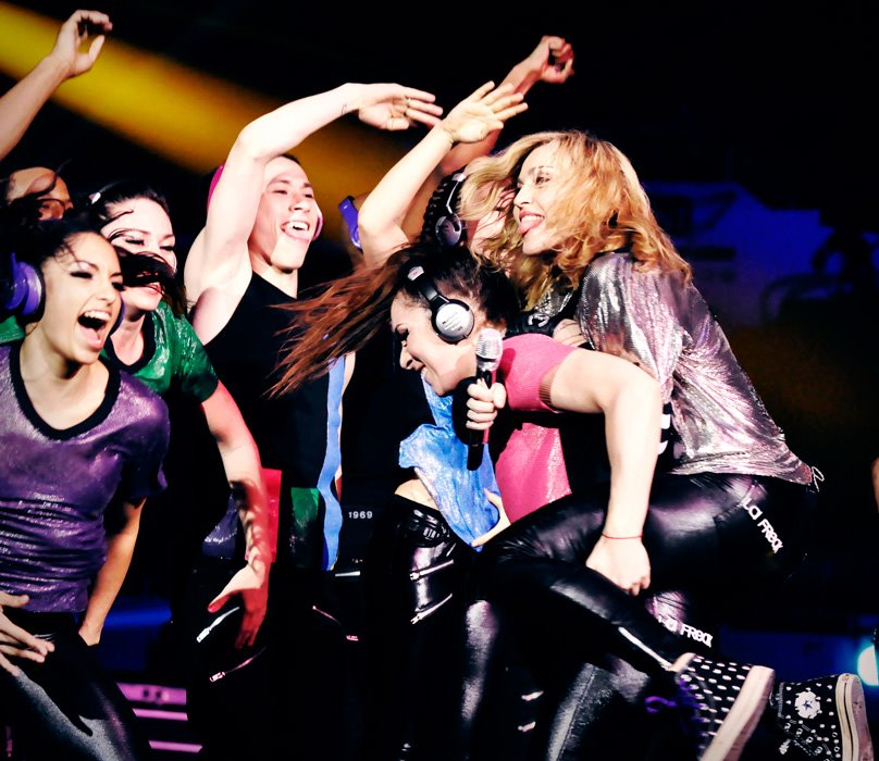 Madonna rehearsing with her dancers in Tel Aviv (Courtesy Madonna Facebook page)