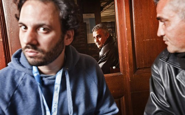 '5 Broken Cameras' co-directors Guy Davidi and Emad Burnat (photo credit: Kino Lorber)