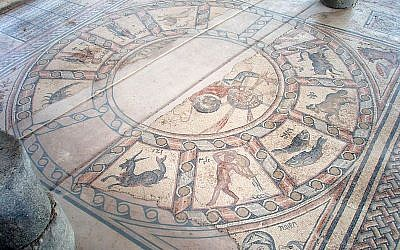 Zodiac mosaic floor at the Hammat Synagogue in Tiberias (photo credit: CC-BY-Bukvoed, Wikimedia Commons)
