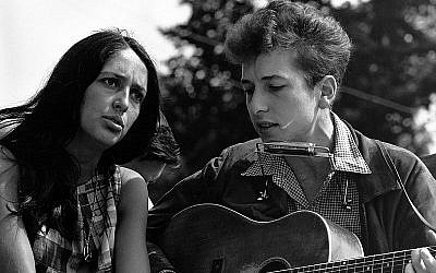 Bob Dylan  and Joan Baez at the March on Civil Rights rally in 1963. (photo credit: US State Department, Wikimedia Commons)