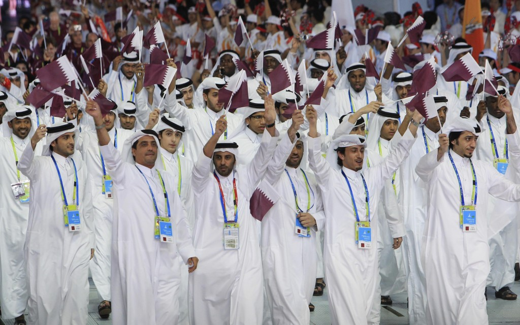 Athletes from Qatar march into the opening ceremony for the 16th Asian Games in Guangzhou, China (photo credit: AP/Wong Maye-E)