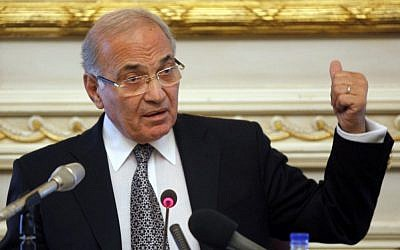 Former Egyptian prime minister Ahmed Shafiq (photo credit: AP/Victoria Hazou, File)