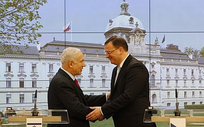 Benjamin Netanyahu, left, meeting Petr Necas in Prague in May. (photo credit: Petr David Josek/AP)