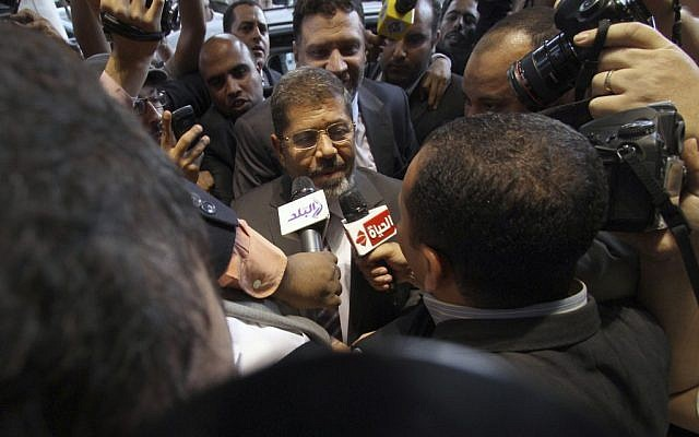 Presidential candidate Mohammed Morsi (photo credit: Ahmed Gomaa/AP)