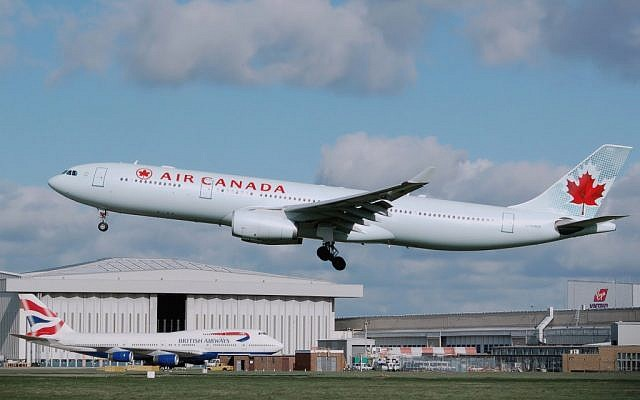 An Air Canada carrier.  A bid by Qatar to relocate the United Nations' civil aviation agency from Montreal to the tiny emirate has angered Canadian officials (photo credit: CC-BY- Arpingstone/Wikipedia)