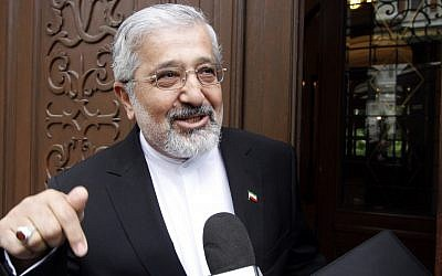 Iran's Ambassador to the International Atomic Energy Agency, Ali Asghar Soltanieh, as he arrives for talks in Vienna, Austria, on Monday (photo credit: AP/Ronald Zak)