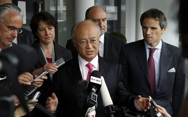 International Atomic Energy Agency Director General Yukiya Amano speaks to the media in May. (photo credit: AP/Ronald Zak)