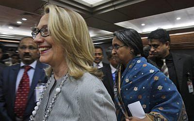 US Secretary of State Hillary Rodham Clinton. (photo credit: AP/Pavel Rahman)
