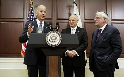 Vice President Joe Biden, left, speaking with Richard Stone, Chairman, and Malcolm Hoenlein, Executive Vice Chairman, of the Conference of Presidents of Major American Jewish Organizations, May 21, 2012. (Photo credit: Joshua Roberts)