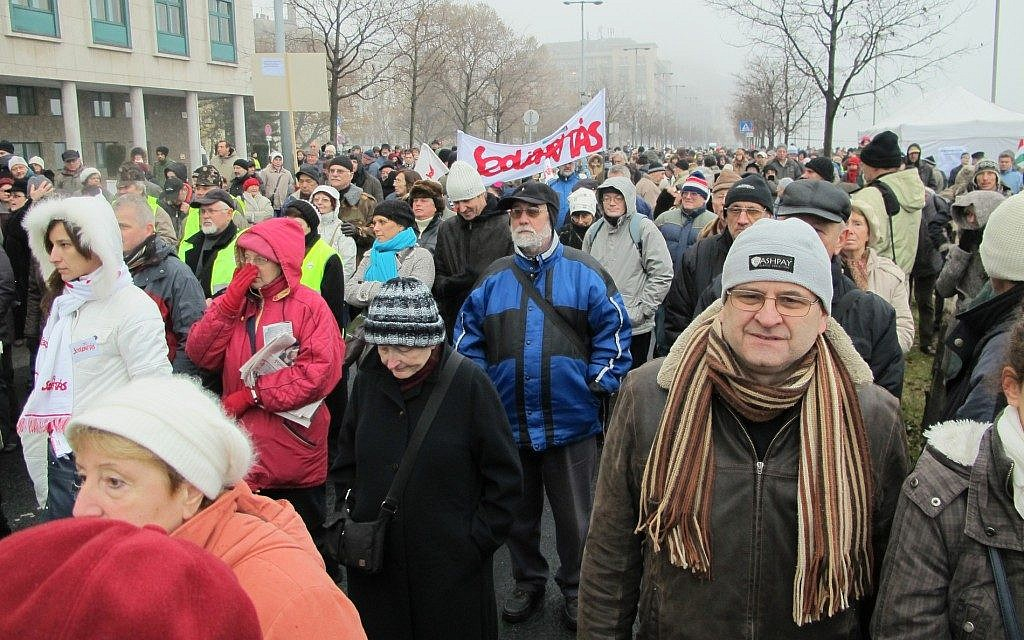 An anti-government demonstration in Budapest, December 2011. (photo credit: Ruth Ellen Gruber/JTA)