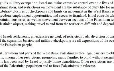 Part of the United Church report condemning Israel (screen capture/united-church.ca)
