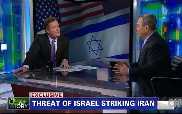 Defense Minister Barak during an interview with Piers Morgan on CNN on Wednesday. (screen capture: CNN)