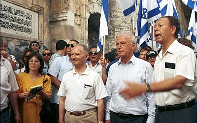 Mordechai Gur (right) with Yitzhak Rabin and Uzi Narkiss (alongside him) visit Lion Gate in the Old City in celebration of the 1967 victory, May 30, 1992. (photo credit: Flash90)