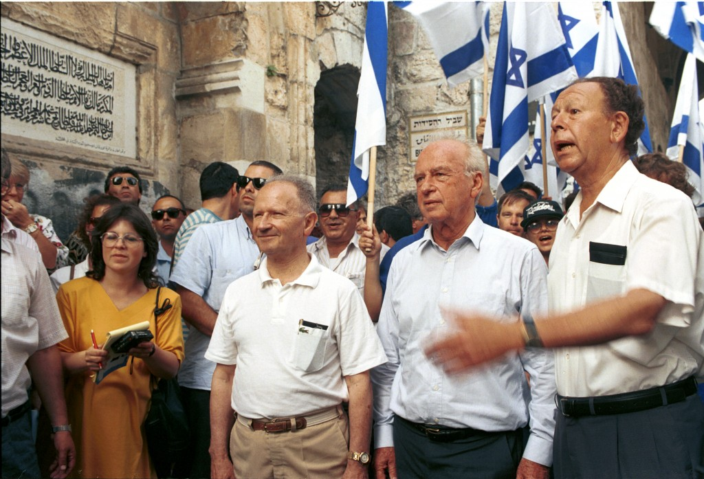 Mordechai Gur (right) with Yitzhak Rabin (alongside him) visit Lion Gate in the Old City in celebration of the 1967 victory, May 30, 1992. (photo credit: Flash90)