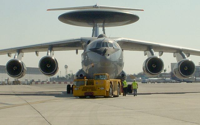An Indian airforce plane fitted with the Israeli IAI/Elta 'Phalcon' AWACS radar system, part of the multi-billion dollar arms trade between the countries. (photo credit: Tsahi Ben-Ami/Flash 90)