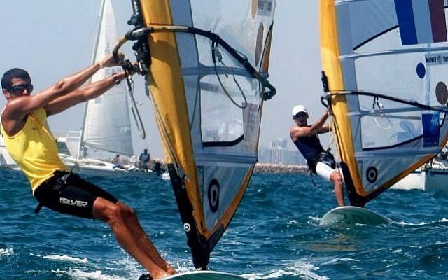 Israeli windsurfer Shahar Zubari (photo credit: Marko/Flash90/File)