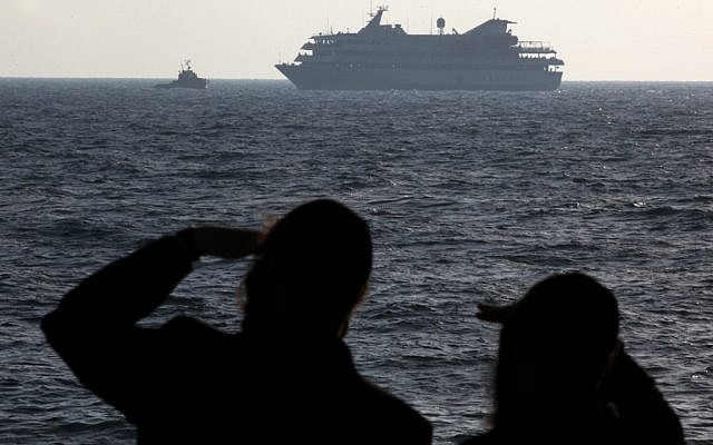 The Mavi Marmara protest ship is escorted to Ashdod port on May 31, 2010 (photo credit: Kobi Gideon/Flash90)