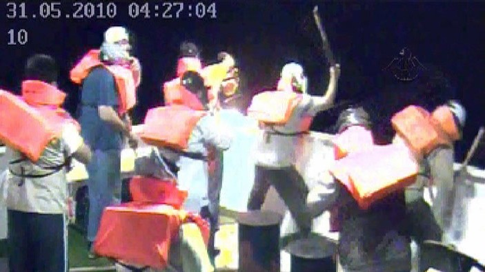 Footage taken from Mavi Marmara security cameras, showing the activists onboard as they prepare to attack incoming IDF soldiers on May 31, 2010 (photo credit: IDF Spokesperson/Flash90)