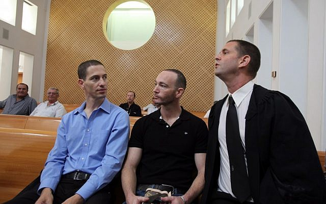 Itai Pinkas and Yoav Arad, a gay couple who petitioned to the Supreme Court requesting to have a baby through a surrogate mother (photo credit: Yossi Zamir/Flash90)