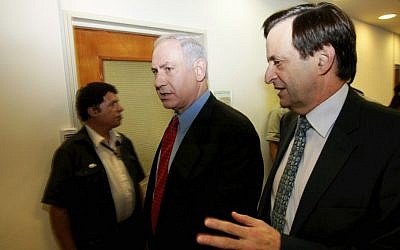 Meridor (foreground) and Netanyahu. (photo credit: Amit Shabi/PoolFlash90)