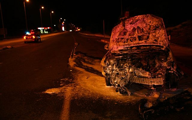 An illustrative photo of a car that was burnt after an accident (photo credit: Chen Leopold/Flash90)