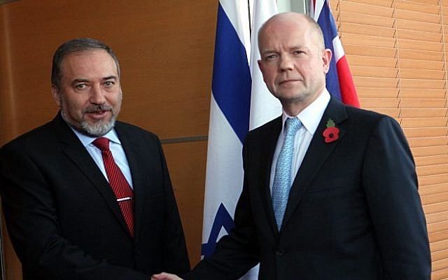 Foreign Minister Avigdor Liberman, left, meets with British Foreign Secretary William Hague in Jerusalem, in 2010 (photo credit: Yossi Zamir/Flash90)