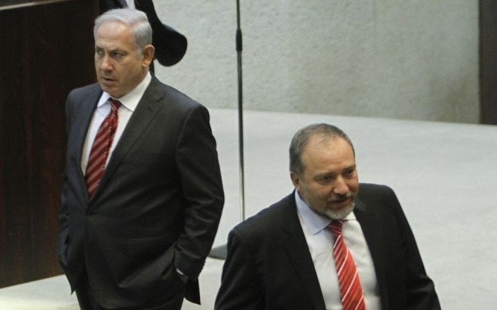 Prime Minister Benjamin Netanyahu, left, and Foreign Minister Avigdor Liberman pictured in the Knesset in 2011 (photo credit: Miriam Alster/Flash90)