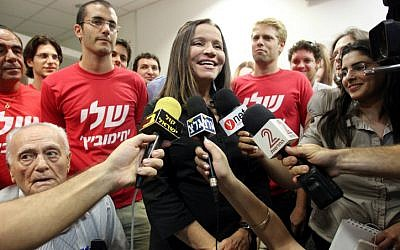 .Yachimovich during her campaign to head the Labor Party (Photo credit: Meir Partush/ Flash 90)