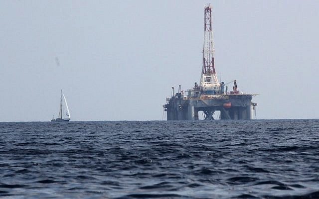 A Mediterranean offshore drilling facility (photo credit: Nati Shohat/Flash90)