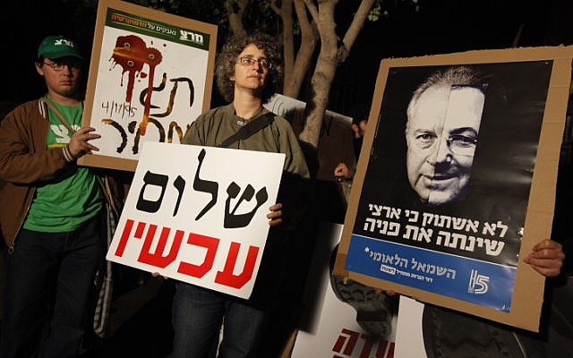 Hagit Ofran, a Peace Now activist and granddaughter of the late Professor Yeshayahu Leibowitz, protesting outside the Prime Minister's Residence. (Miriam Alster/Flash90)