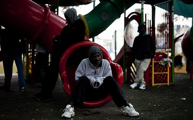 Sudanese refugees in Levinsky Park in south Tel Aviv. (photo credit: Dima Vazinovich/Flash90)