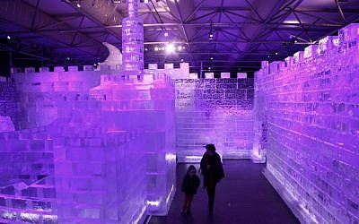 A mother and son at the Jerusalem Ice Festival in February (photo credit: Kobi Gideon/Flash90)