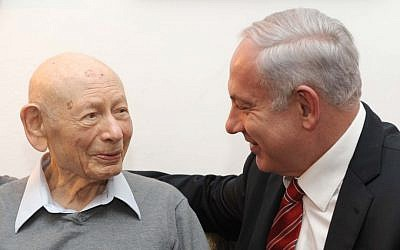 Benzion, left, and Benjamin Netanyahu (Avi Ohayon/GPO/Flash90)