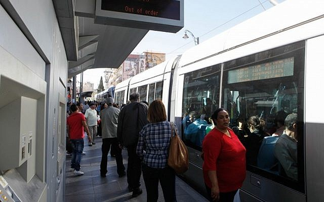 Illustrative: A station in Jerusalem's light rail system. The system is included in the Transport Ministry's public transportation database. (Uri Lenz/Flash90)