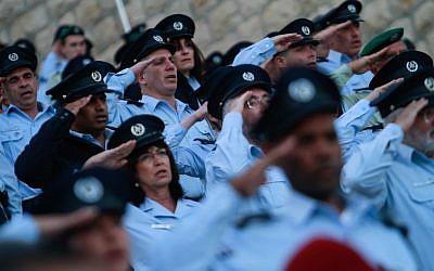 Israel Police ceremony held in April (photo credit: Uri Lenz/Flash90)
