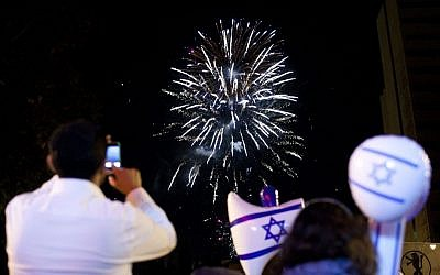 Fireworks in Jerusalem April 25, 2012 as the country marks the 64th anniversary of its independence (photo credit: Yonatan Sindel/Flash90)