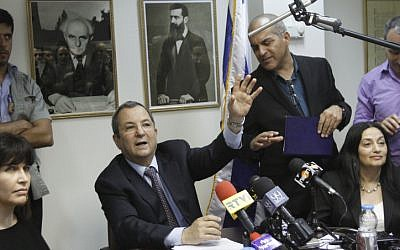 Defense Minister Ehud Barak, head of the Independence party, leads a party meeting in the Knesset in May (photo credit: Miriam Alster/Flash90)