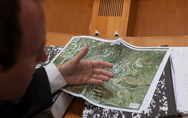 A map of Beit El during the court hearing of the Ulpana petition Sunday. (photo credit: Uri Lenz/Flash90)
