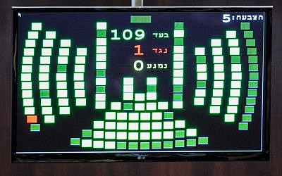 The Knesset voting screen showing near unanimous support for the dissolution of the knesset before the deal was made public late Monday night. (photo credit: Noam Moskowitz/Flash90)