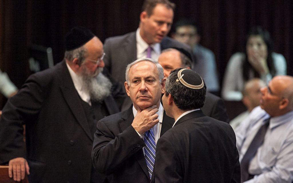 Prime minister Benjamin Netanyahu during a late night Knesset meeting Monday night (photo credit: Noam Moskowitz/Flash90)