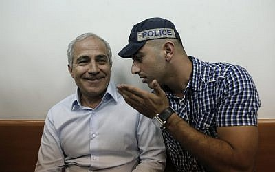 Kiryat Malachi Mayor Motti Malka attends a court hearing on Wednesday (photo credit: Tsafrir Abayov/Flash90)