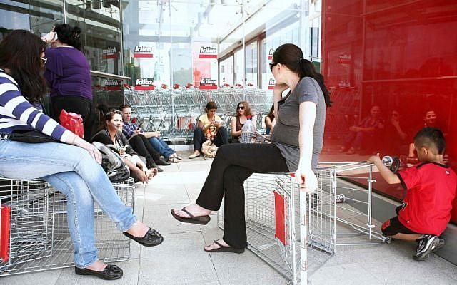 Kika employees on Thursday in Netanya (photo credit: Yehoshua Yosef/Flash90)