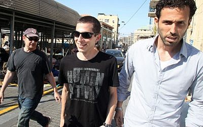 Shalit arriving at the set of Homeland in Tel Aviv (photo credit: Meir Partush/Flash 90)