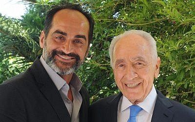 President Shimon Peres meets with Iranian actor Navid Negahban, who stars in the American hit series 'Homeland'. The cast of the series is in Israel in order to film the second season of the show. (photo credit: Mark Neyman/GPO/Flash90)