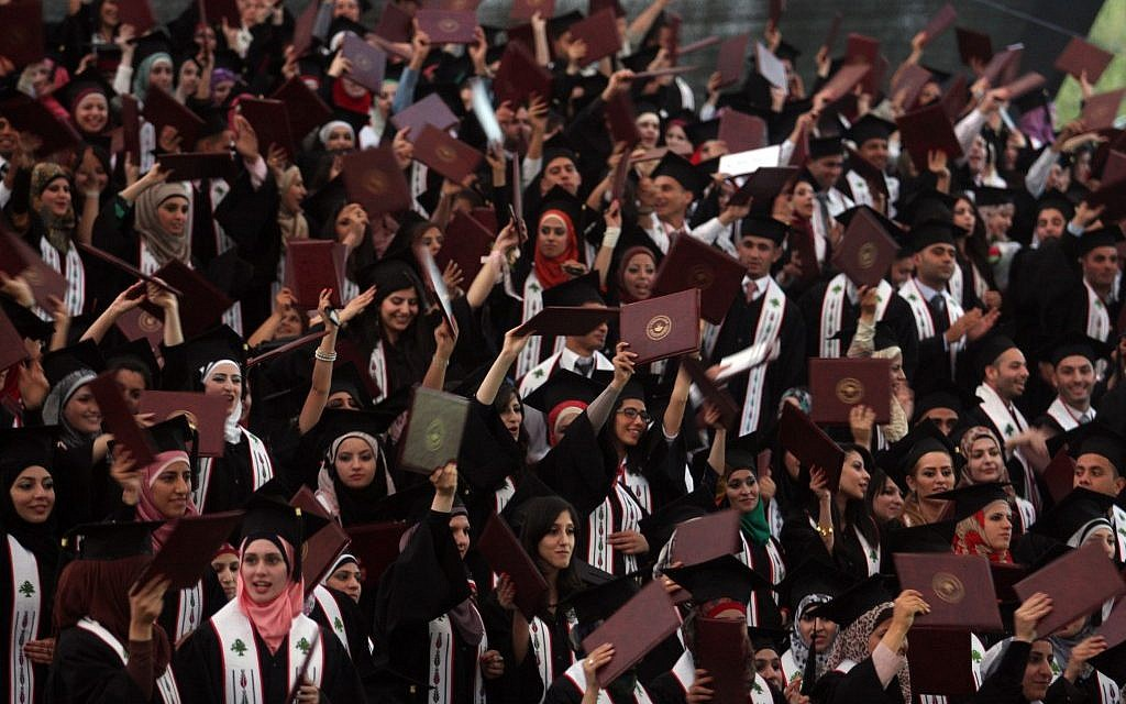 Palestinian students attend their graduation ceremony at Bir Zeit University, May 18, 2012. (Issam Rimawi/Flash90)