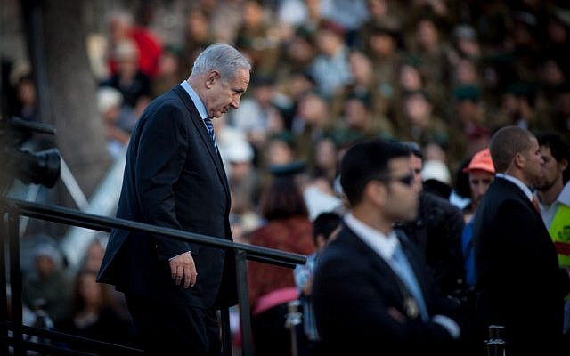 Prime Minister Benjamin Netanyahu at the state ceremony marking Jerusalem Day, Ammunition Hill, Sunday (photo credit: Uri Lenz/Flash90)